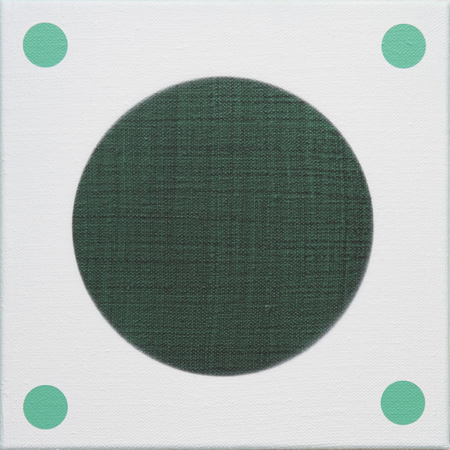 Green in Four Directions, 2016, acrylic on flax 30cm x 30cm