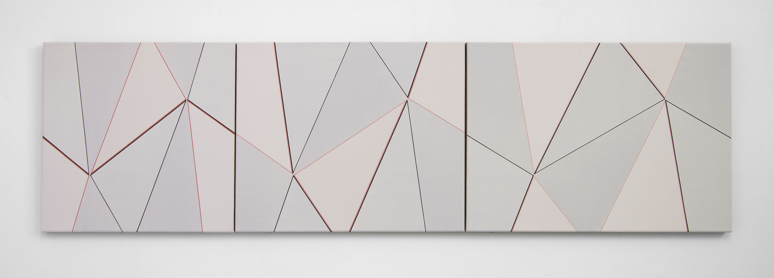 Katrina Blannin, Three Piece Suite Black-Light Red 2014, 50x50 50x60 50x70cm Triptych